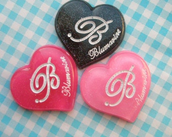 Dollar Sale B on Glitter Heart cabochons Set 3 colors 3pcs