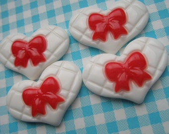 Bow on flat heart cabochons 4pcs RED BOW