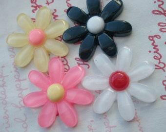 Daisy Flower cabochons MIX Set 4pcs Yellow White Black Pink
