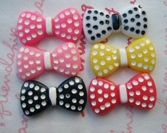 SALE Polka dot Flat bow cabochons Set 6pcs
