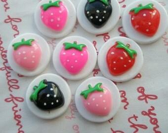 SALE Strawberry Disc Cabochons Set B 8pcs 4 colors