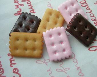 SALE Cookie Biscuit cabochons Set D 6pcs