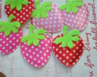 Flat Strawberry appliques 6pcs