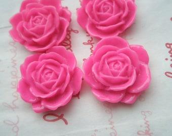 Big Rose Cabochons Set 4pcs  24mm TA-A4 Hot PINK