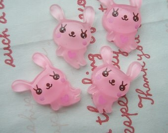 sale Clear bunny cabochons Set 4pcs PINK