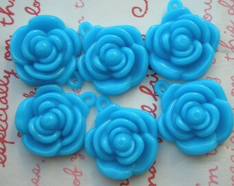 BLUE Rose charms beads pendants 6pcs 22mm 6pcs