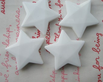 LARGE Star beads 4pcs WHITE