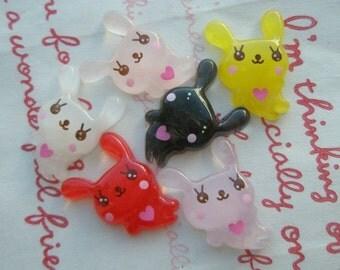 sale Clear bunny cabochons Set 6pcs