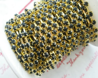 BLACK rhinestone chain ( GOLD tone ) 3mm stone 50cm
