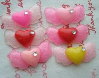 sale Heart on GLITTER  Wing cabochons 6pcs RANDOM MIX