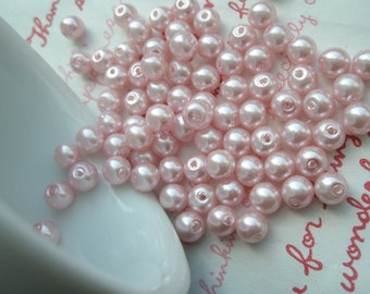 Glass Pearlized round beads 6mm 20grams 80pcs Light Pink