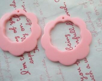 Flower Open Hoop pendant 2pcs Pink
