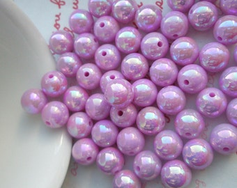 Pearly AB color Shiny beads 10mm 25pcs PURPLE