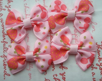 Strawberry and cherry Print bow ribbons 4pcs PINK