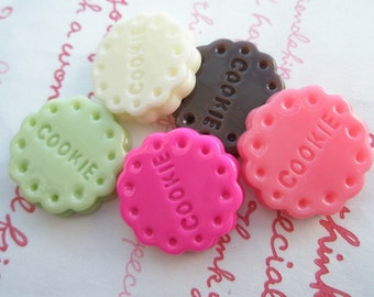 Size M Round Cookie Biscuit cabochons Set 5pcs