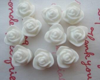 SALE Matte type Tiny rose cabochons 10pcs PD 002 9mm WHITE
