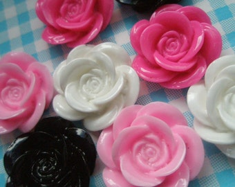 Pretty Rose cabochons Mix 8pcs