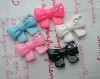 sale Plain bow with 2 rhinestones Set 5pcs Size M