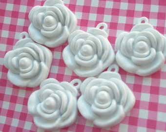 WHITE Rose charms beads pendants 6pcs 22mm