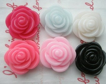 Sale TA-005  Rose cabochons 6pcs 20mm