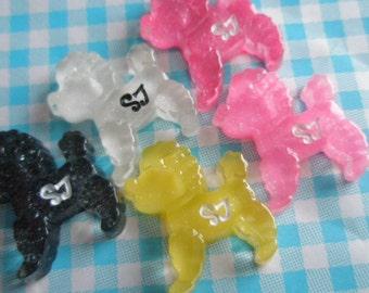 SALE Glitter SJ Poodle puppy cabochons Set 5pcs
