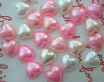 Pearlized Heart cabochons MIX  50pcs Pink White tone 8mm