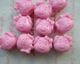 sale Pink Piggy Beads 10pcs
