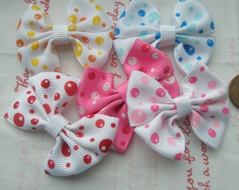 Dotted colorful bow 5pcs