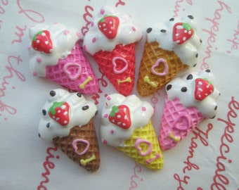 sale Colorful ice ream cones cabochons Strawberry on top  6pcs ( I Heart )