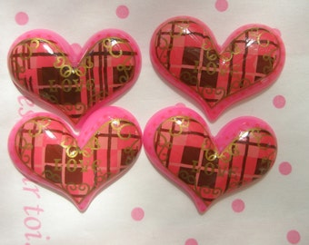 SALE TARTAN PLAID Heart cabochons 4pcs Pink