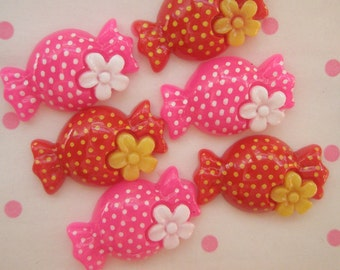SALE Polka dots Candy with Flower cabochons Set 6pcs