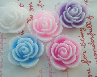 SALE Glitter Frosty ROUND flower cabochons SET A 5pcs 25mm