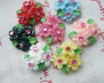 SALE 3 GLITTER Flower with rhinestones Bouquet  cabochons 7pcs B