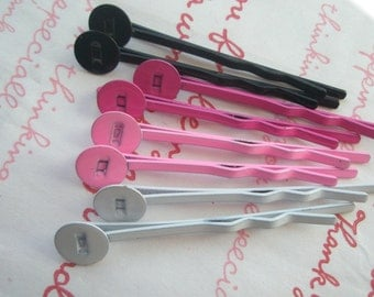 Colorful Metal Bobby pins with pad Size S 8pcs