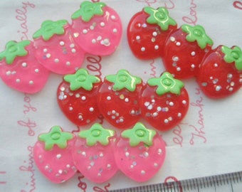 SALE Super Cute Glitter Lined up Strawberry cabochon Set 4pcs