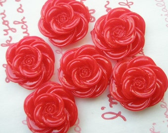SALE ME--7 High Quality Pretty Rose cabochons 6pcs Red
