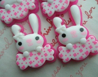 sale Pink Bunny with Candy Cabochons 4pcs