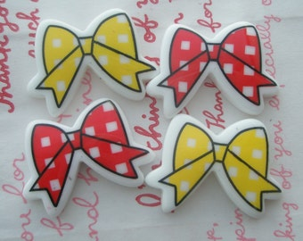Gingham check Butterfly Bow cabochons MIX Set 4pcs