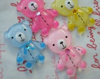sale Clear Teddy bear with rhinestone cabochons 4pcs