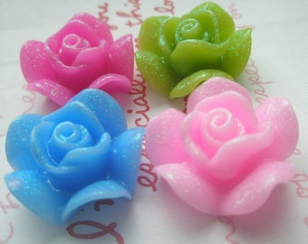 Thick Glitter Rose Cabochons Mix Set 4pcs 4 colors 21mm TG-B-4