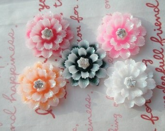 Icy Frosty GLITTER flower cabochons with rhinestones 5pcs A