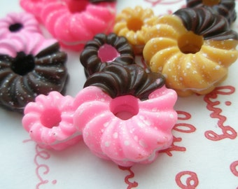 SALE Mickey Mouse shaped twisted Doughnut cabochons 4pcs