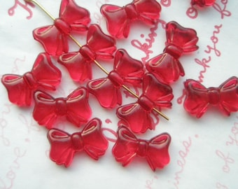 Transparent plastic Bow beads 20pcs  RED