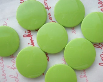 Flat Round Colorful acrylic beads 21mm 8pcs Light Green