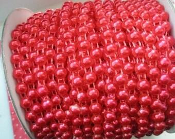 Red Half ball Pearlized chain 3 feet