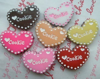 SALE Flat Heart shaped Chococlate sand Cookie  Set 7pcs