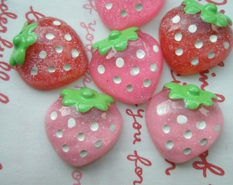 SALE Clear Glitter Strawberry cabochons 6pcs Size-M 19mm x 19mm D