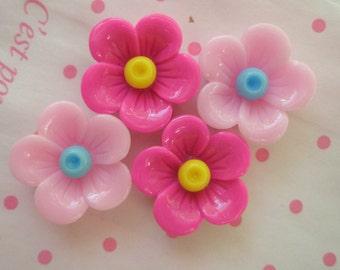 sale Cute Lovely Flower cabochons Set  4pcs Pink tones