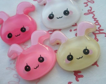 sale Shy Bunny cabochons Set 4pcs