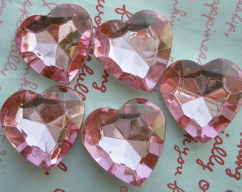 SALE Big CHUNKY Clear PINK faceted Heart shaped gems 25mm 5pcs